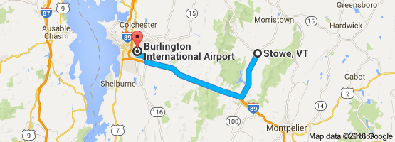 Map from Burlington to Stowe